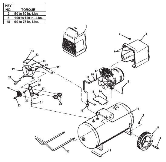 Devilbiss Model 100e8ad Oil Free Air Compressor Breakdown