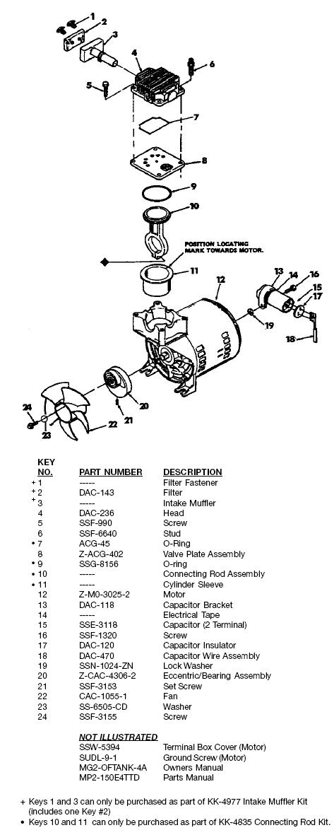 DEVILBISS OIL FREE AIR COMPRESSOR MODEL 150E4TTD BREAKDOWN, PARTS LIST, REPLACEMENT PARTS, REPAIR KITS
