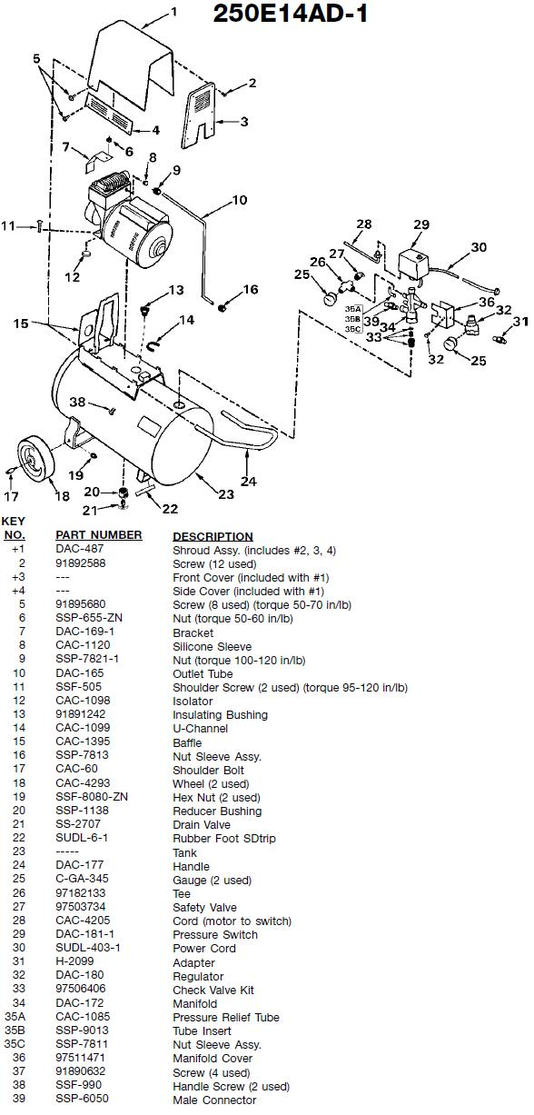 250E14AD-1 unit breakdown and parts list