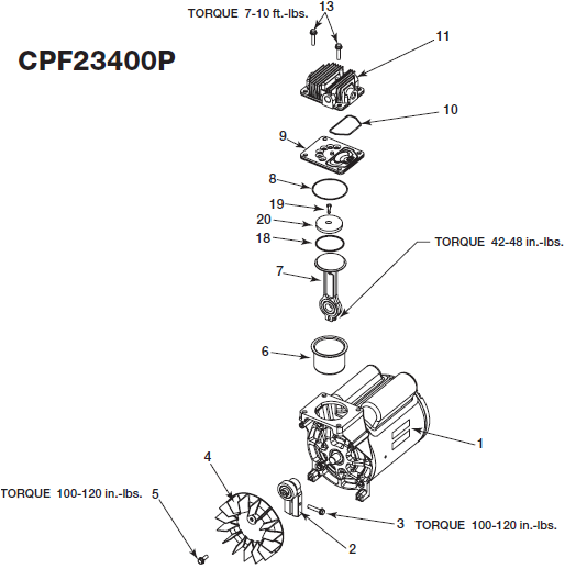 Devilbiss CPF23400P Pump Breakdown and Parts