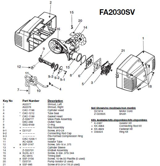 Devilbiss EXFA2030SV Air Compressor Breakdown, Parts & Kits
