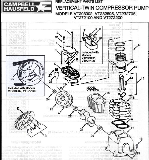 VT203002 Air Compressor Pump Parts, Pumps, Repair Kits, Breakdowns & Owners Manuals