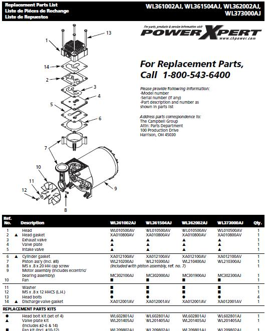 WL361002AJ AIR COMPRESSOR PUMP PARTS